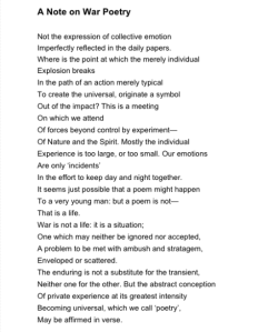 Note on War Poetry